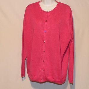 Ashley Stewart Pink Sweater Cardigan plus 2x